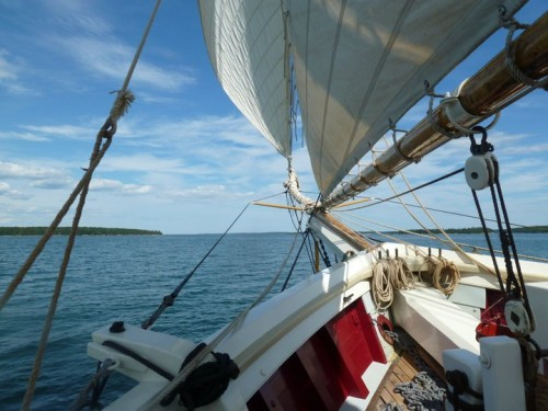 115 foot schooner and clear blue American skies. TFM.