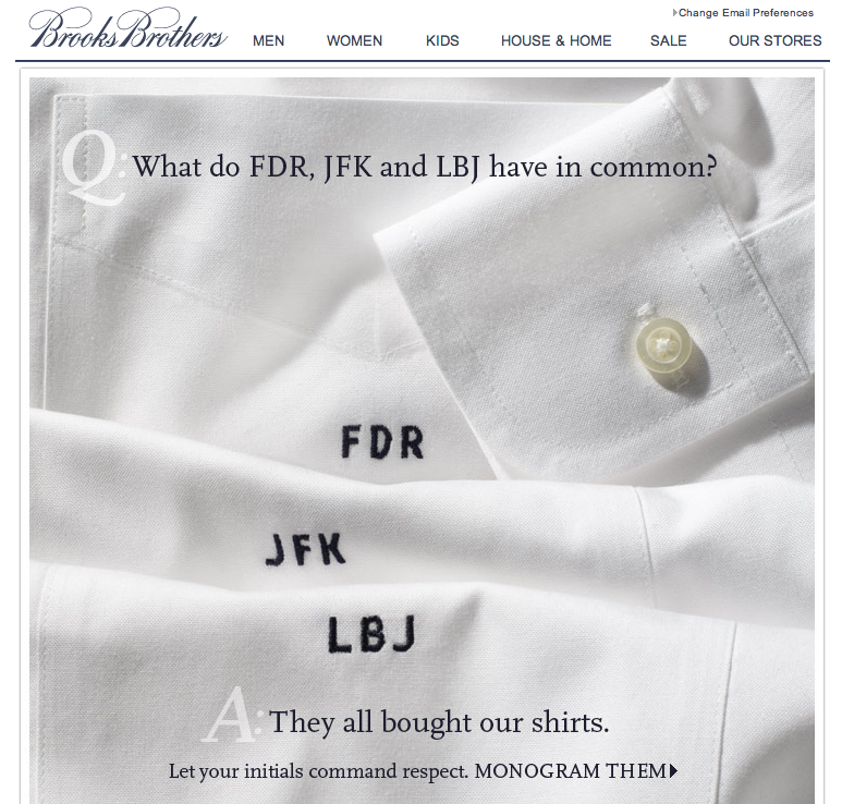 This email from Brooks Brothers. TFM.