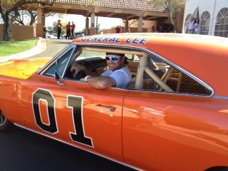 Bubba Watson driving up to the Phoenix Open in his $110,000 General Lee. TFM.