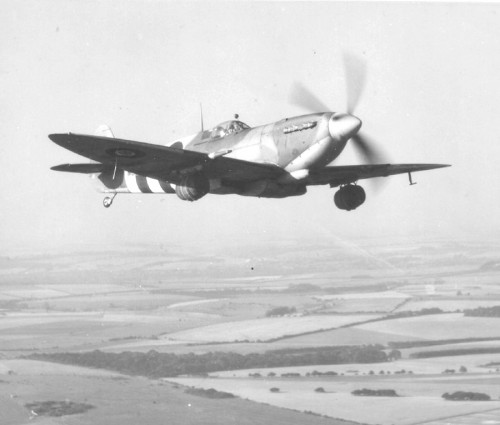 Spitfire Mk IX making a run with fresh beer kegs to the heroes who invaded Normandy. TFM.