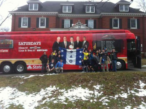 ESPN's College GameDay Bus parking at the frat house. TFM.