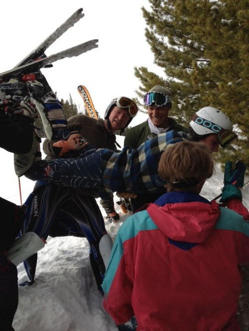 Bringing a keg up on the lift for race day. TFM.