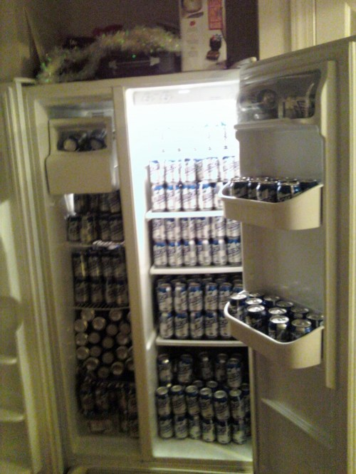 No fridge space for food. TFM.