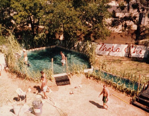 Fall Rush Luau 1986: 2 tons of sand in the backyard for the new pledges to clean up afterward.