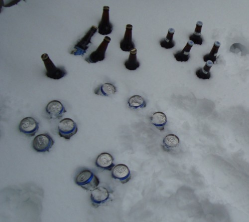 If there's not enough to ski on, the only thing snow's good for is keeping the beer cold.