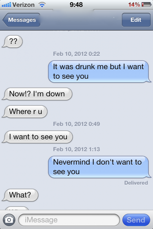 Sober me loves blacked out me.