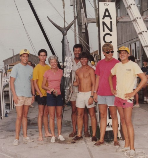Dad fratting in the '80s after catching his marlin. TFM.