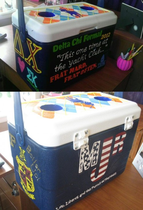 A cooler for the true America loving fraternity man.