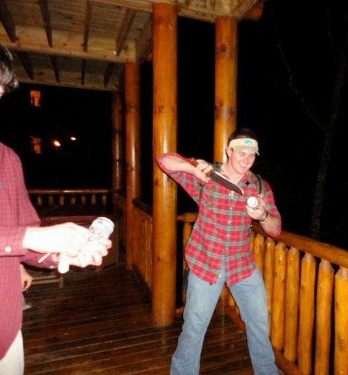 Shotgunning with a 14-inch buck knife. TFM.