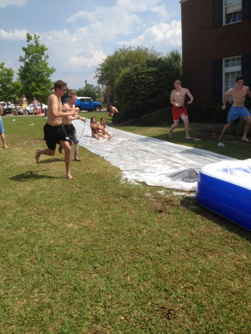 Slip 'n slide at the house four days after being kicked off campus. TFTC.