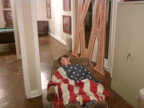 Passed out in the parlor. TFM.