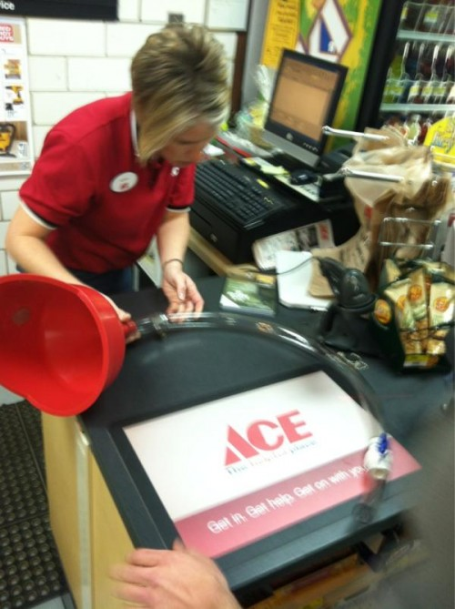 "Ace Hardware helping us prepare for ""oil changes"" on the boat in Florida this week. TFM."