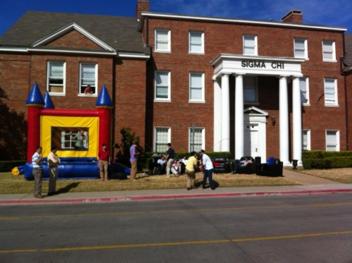 Getting weird with a front yard bouncy castle. TFM.