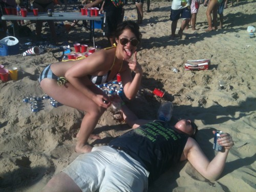 Blacking out on the beach. TFTC.