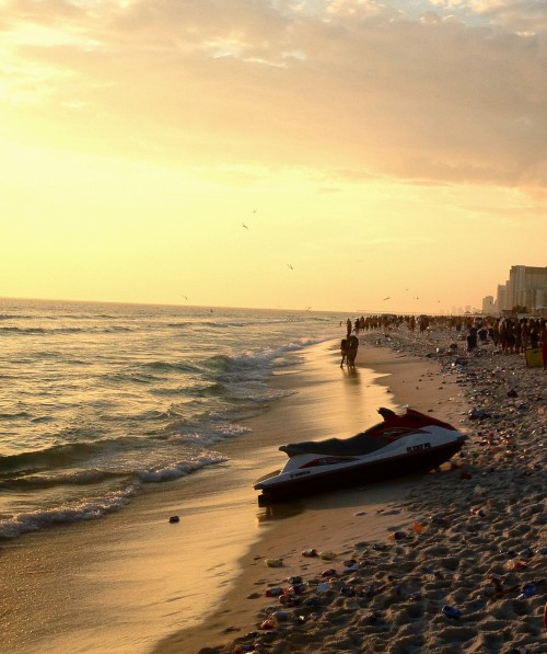 Another sunset at PCB. Whose pledges clean this up?