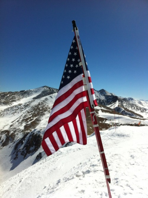 Breckenridge: putting the American flag at the top of the mountain. TFM.