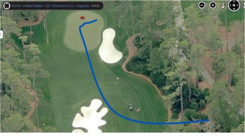Google Earth view of Bubba Watson's incredible shot at the Masters. TFM.