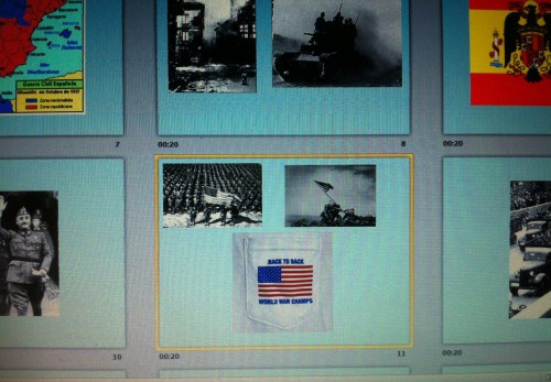 """Putting a close up of the """"Back to Back World War Champs"""" shirt in my history project. TFM."""