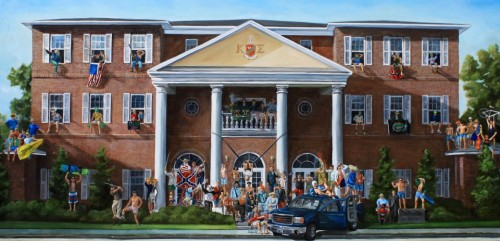 6 by 3 foot oil painting of the frat castle.