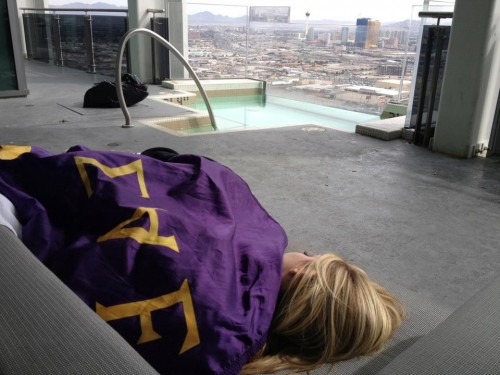 Passed out on the couch of the Palms penthouse with the warmth of an SAE flag.