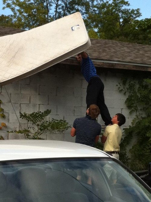 Pledges found their mattresses on the neighbors roof. TFM.