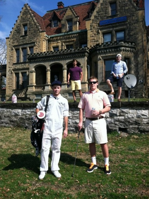 Nothing like a pledge caddy at the frat castle. TFM.