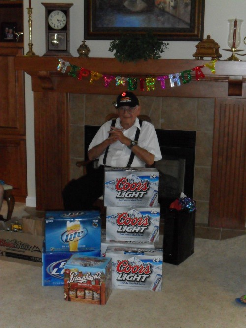Grandpa turning 101 years old in the proper fashion. TFM.