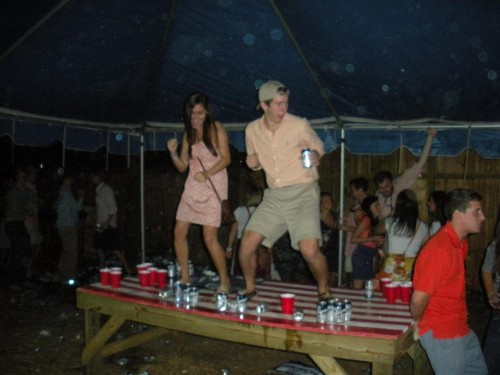 Mid-tailgate table dancing. TFM.
