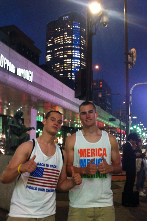 Sporting the home jerseys in downtown Tokyo. TFM.