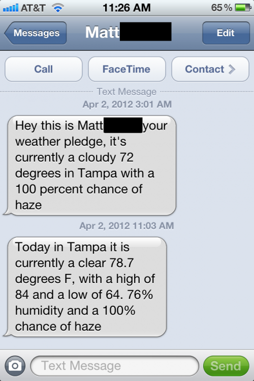 Weather pledge keeps me updated on the 100% chance of haze. TFM.