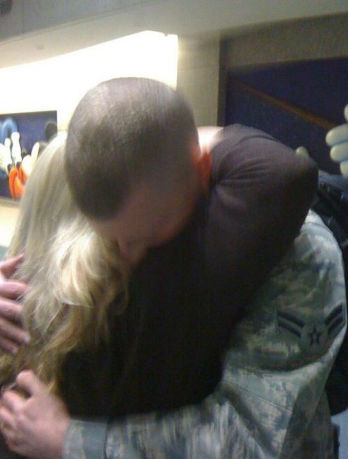 Getting a welcome home hug from momma. TFM.