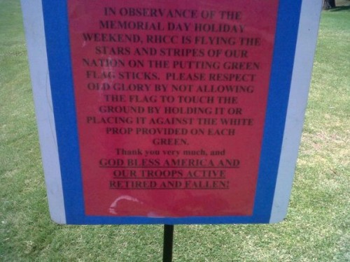 Patriotism at the country club. TFM.