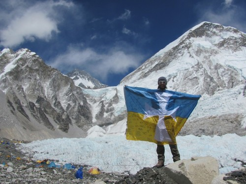 Flying the colors at Mount Everest Base Camp. TFM.