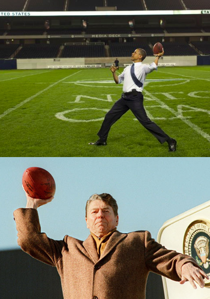 Obama's limp-wristed throw vs. Reagan's cannon. TFM.