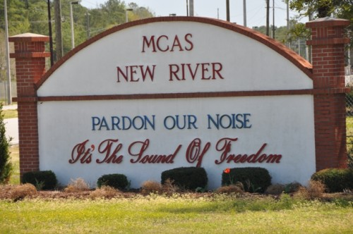 Welcome sign at the gate of Marine Corps Air Station New River. TFM.