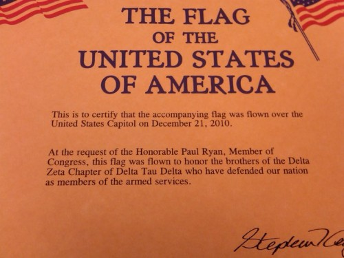 Alumni Congressman dedicated a flag flown over the Capitol to our brothers kicking ass around the world. TFM.