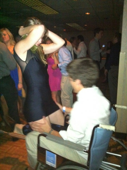 Blown-out knee Friday, wheelchair formal Saturday. TFM.