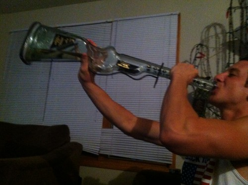 Blowing your brains out with tequila while wearing the Back to Back World War Champs tank. TFM.