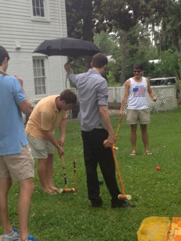 That's right geed, hold the umbrella for me while I hit my croquet ball. TFM.