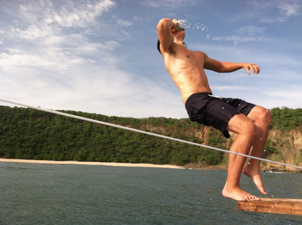Shotgun backflip off the boat on the Nicaraguan coast. TFM.