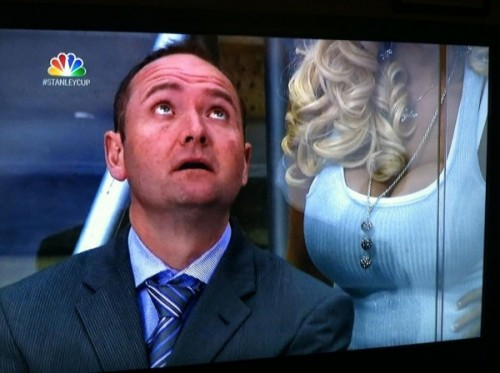 Being told to watch the Stanley Cup game because of the rack on the girl behind the Devils' coach. TFM.