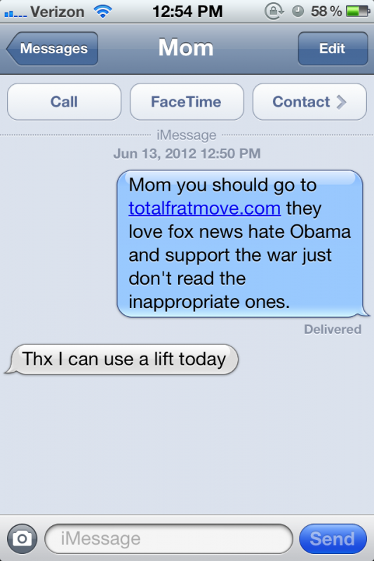 Telling your mom to get on TFM. TFTC.
