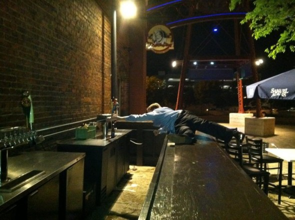 Refusing to leave the bar after it closes. TFM.
