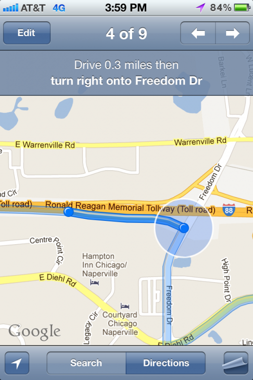 Taking a right on Freedom Drive from Ronald Reagan Tollway. TFM.