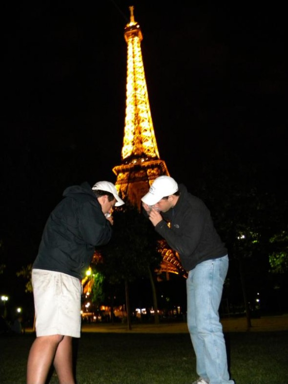 Shotgunning in front of the Eiffel Tower. TFM.
