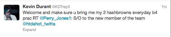 Kevin Durant sending pledges to get him breakfast. TFM.
