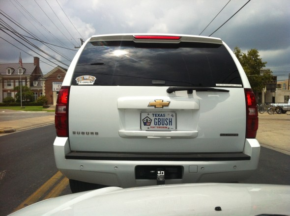 "9/11 ""GBUSH"" license plate. TFM."
