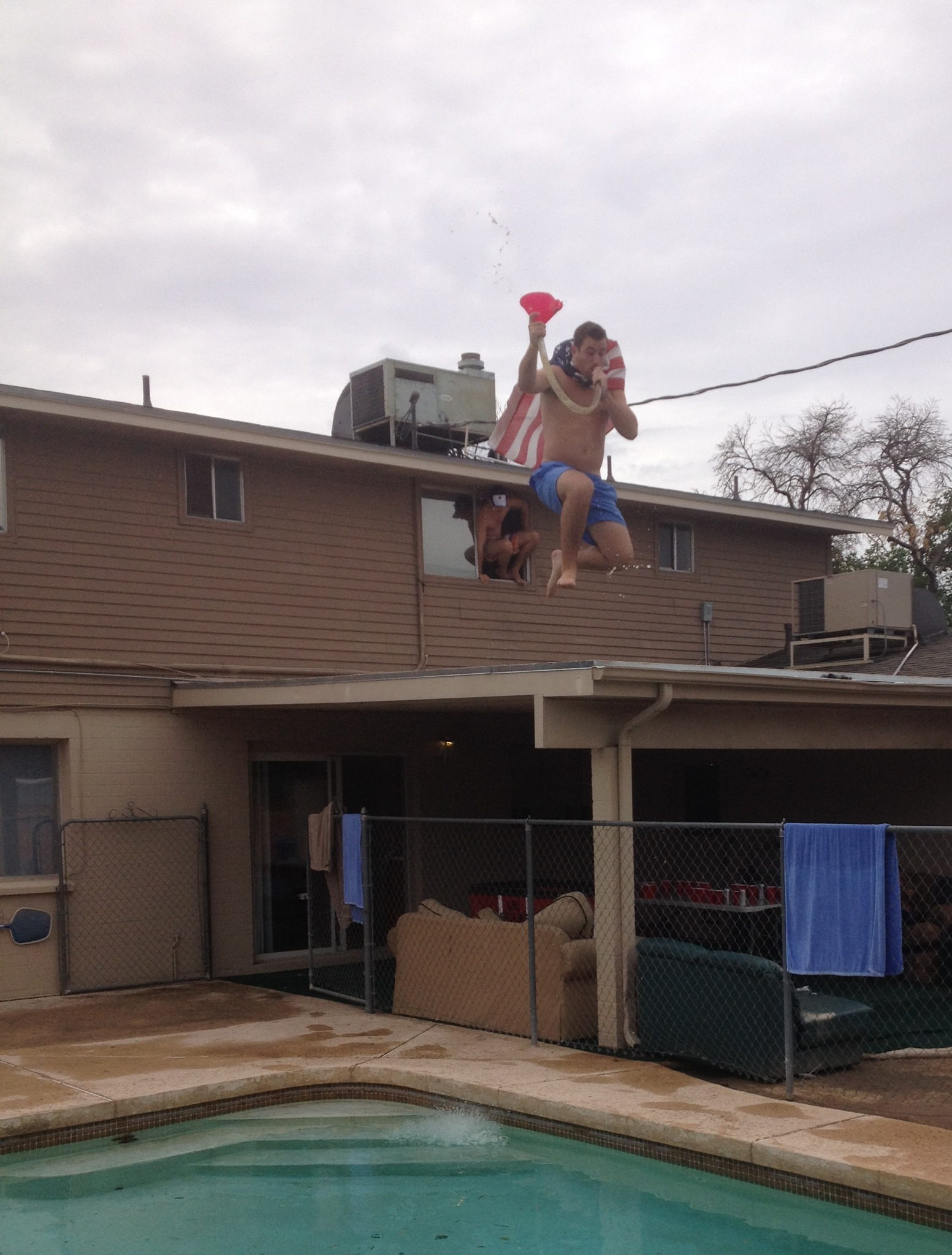 Mid-air beer bong for America. TFM.