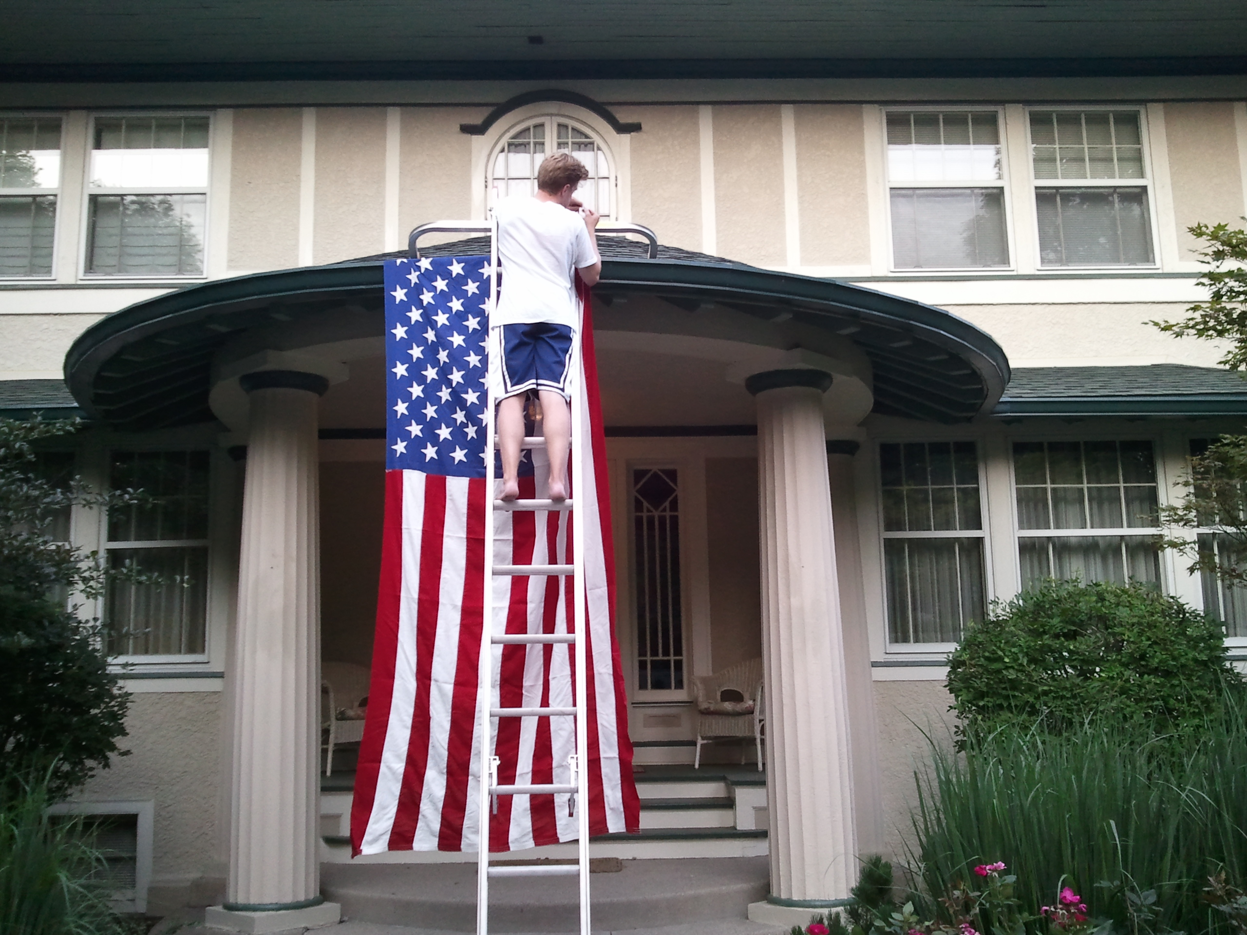 Hanging up Old Glory for the 4th. TFM.