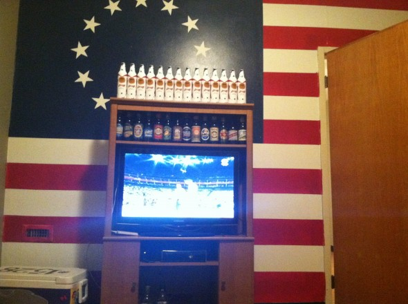 Naturally, the room where brothers get together to watch the Olympics. TFM.